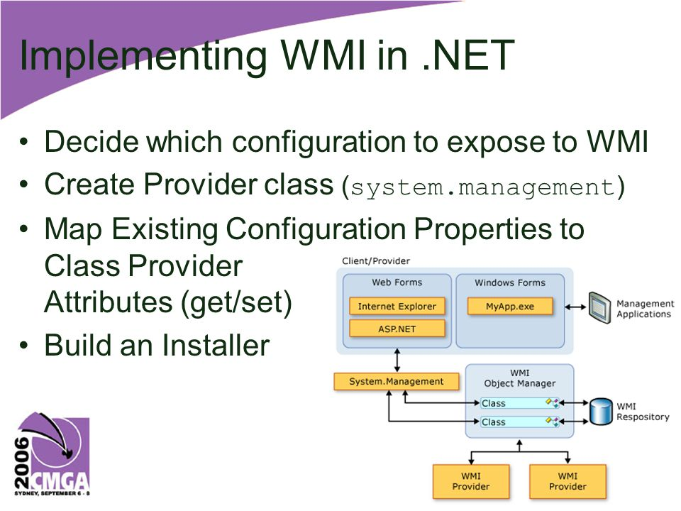 Implementing WMI in.NET Decide which configuration to expose to WMI Create Provider class ( system.management ) Map Existing Configuration Properties to Class Provider Attributes (get/set) Build an Installer