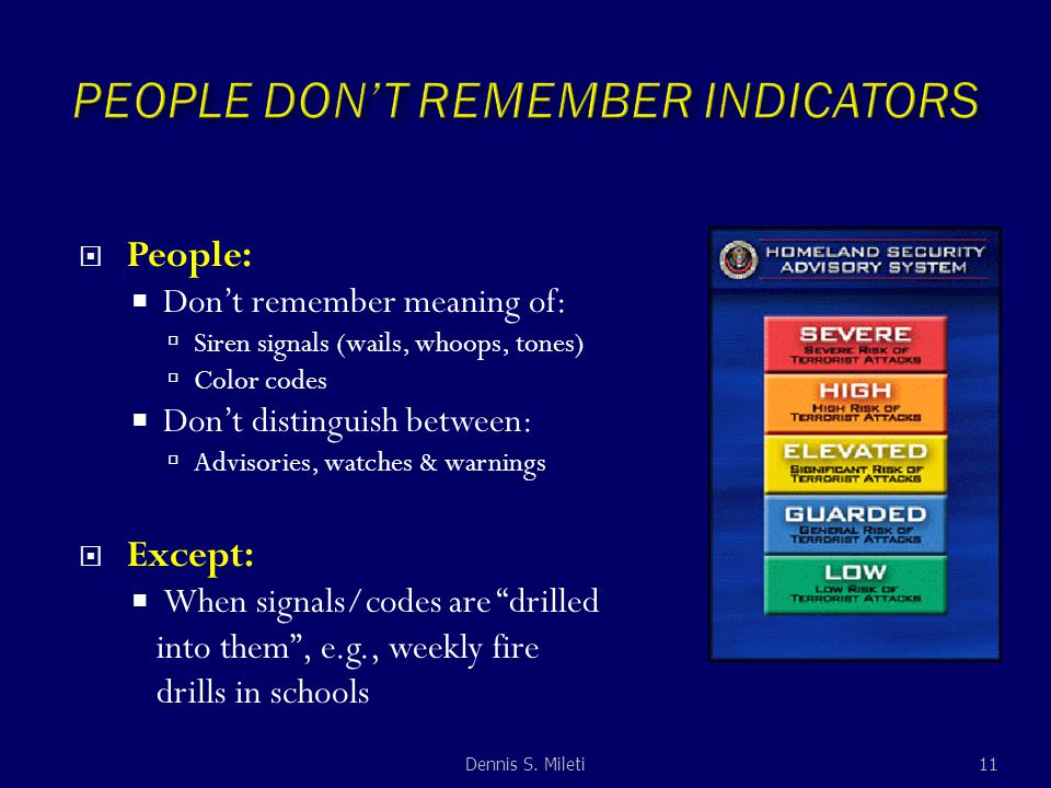  People:  Don't remember meaning of:  Siren signals (wails, whoops, tones)  Color codes  Don't distinguish between:  Advisories, watches & warnings  Except:  When signals/codes are drilled into them , e.g., weekly fire drills in schools 11Dennis S.
