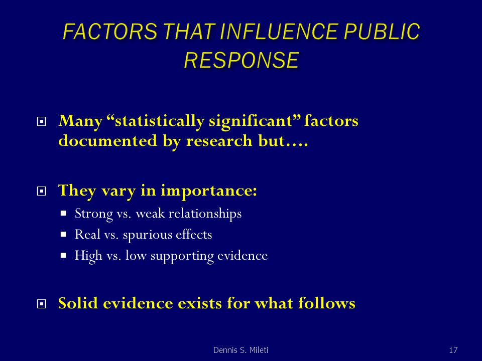  Many statistically significant factors documented by research but….