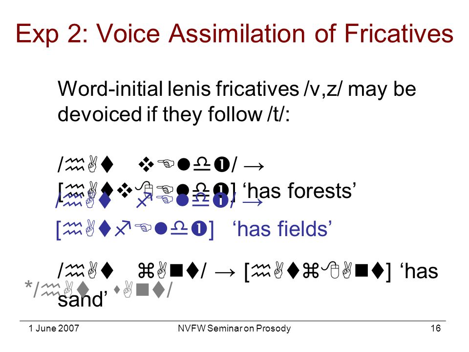 1 June 2007NVFW Seminar on Prosody16 Word-initial lenis fricatives /v,z/ may be devoiced if they follow /t/: /hAt vEld  / → [hAtv  Eld  ] 'has fore