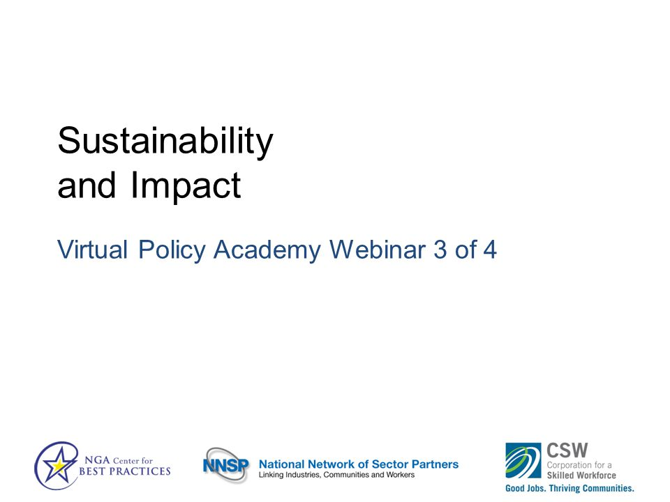 Sustainability and Impact Virtual Policy Academy Webinar 3 of 4