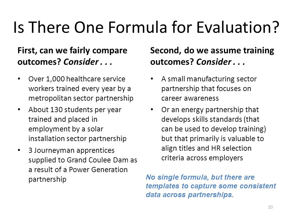 Is There One Formula for Evaluation. First, can we fairly compare outcomes.