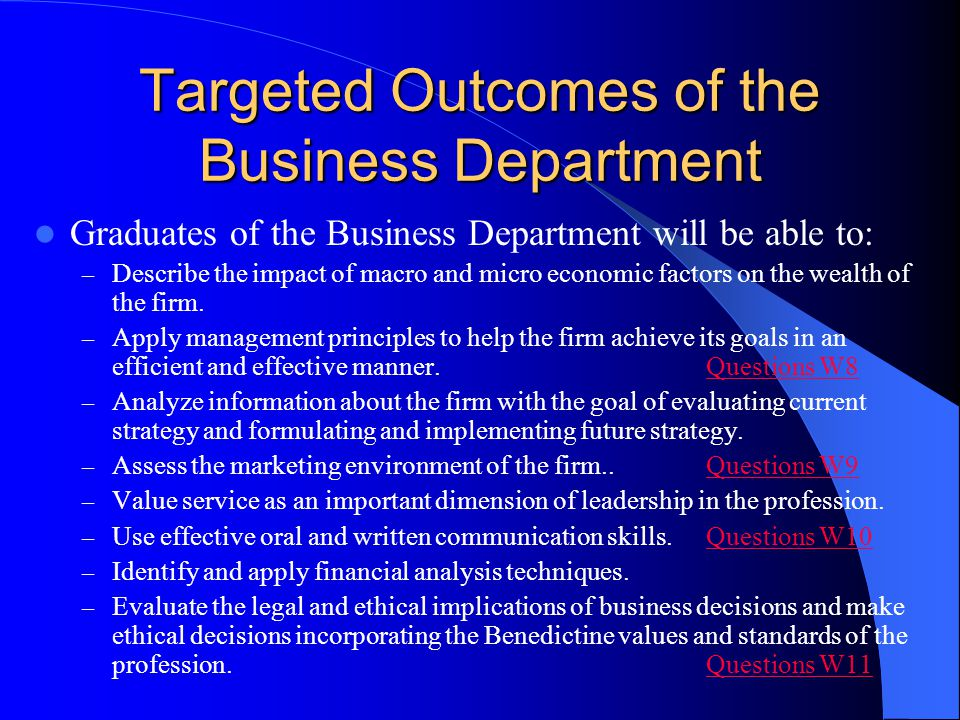 Targeted Outcomes of the Business Department Graduates of the Business Department will be able to: – Describe the impact of macro and micro economic f