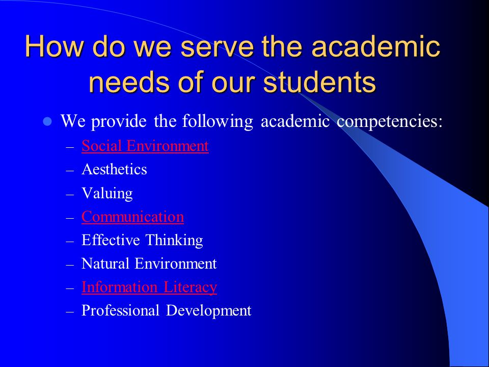 How do we serve the academic needs of our students We provide the following academic competencies: – Social Environment Social Environment – Aesthetic