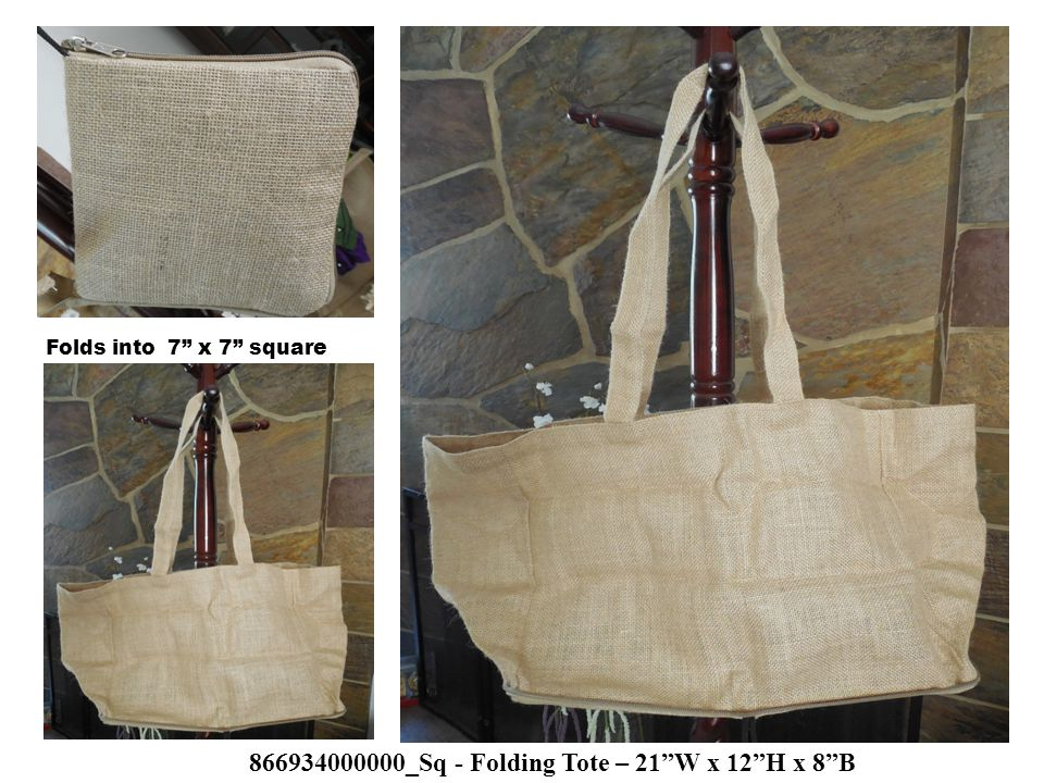 866934000000_Sq - Folding Tote – 21 W x 12 H x 8 B ) Folds into 7 x 7 square