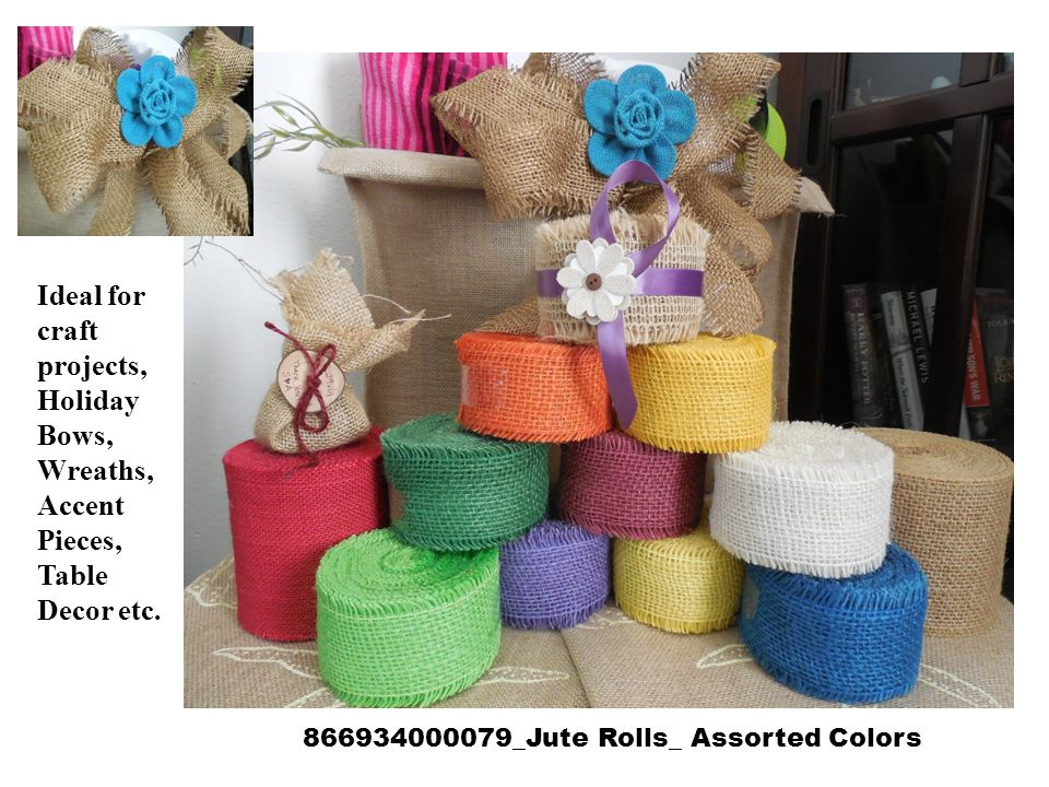 866934000079_Jute Rolls_ Assorted Colors Ideal for craft projects, Holiday Bows, Wreaths, Accent Pieces, Table Decor etc.