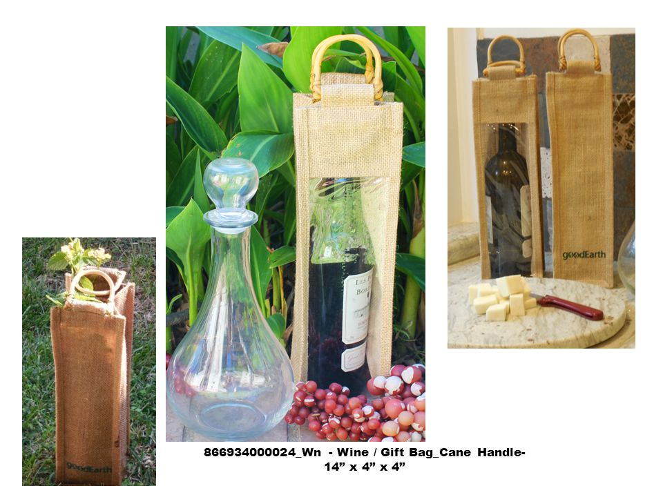 866934000024_Wn - Wine / Gift Bag_Cane Handle- 14 x 4 x 4