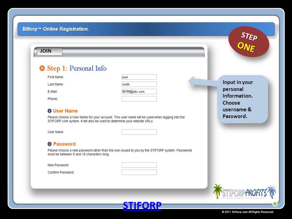 © 2011 Stiforp.com All Rights Reserved. $tiforp ™ Online Registration. STIFORP