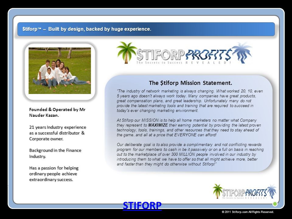 © 2011 Stiforp.com All Rights Reserved.Your personal Matrix starts inside your Introducers Matrix.