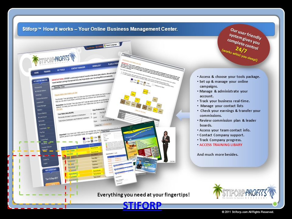 © 2011 Stiforp.com All Rights Reserved. Everything you need at your fingertips! $tiforp ™ How it works – Your Online Business Management Center. STIFO