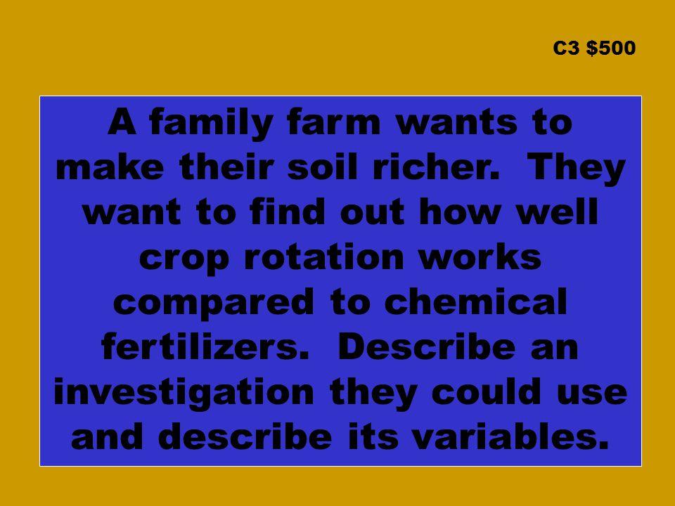 C3 $500 A family farm wants to make their soil richer.