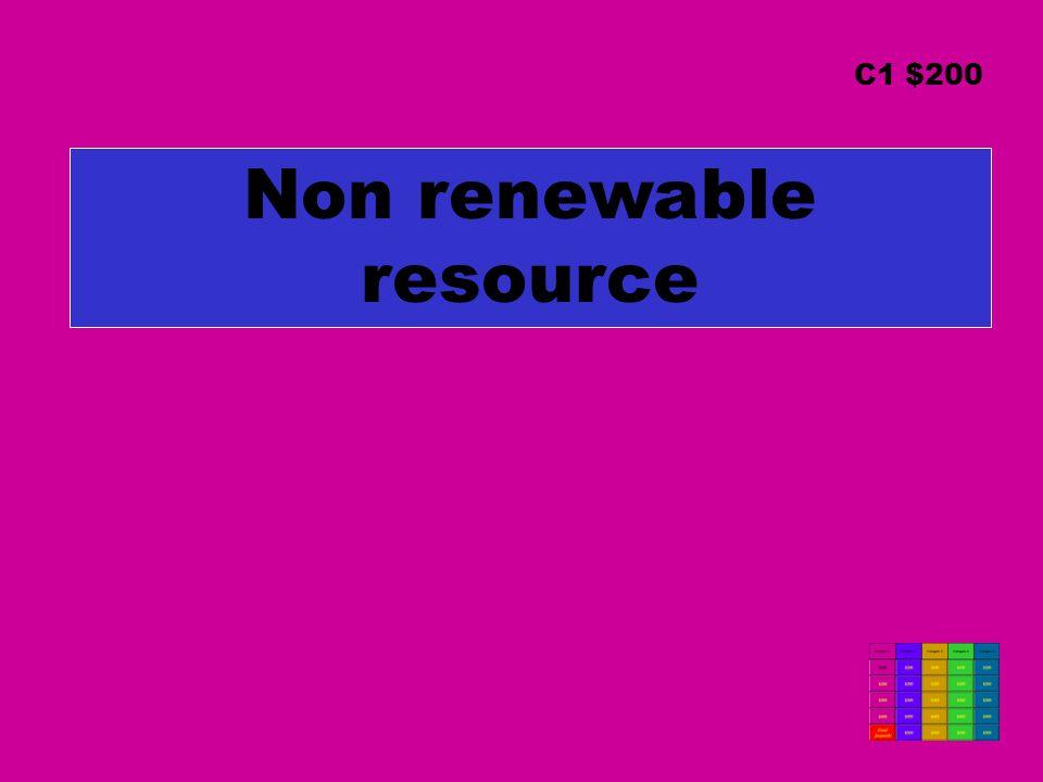 Non renewable resource C1 $200
