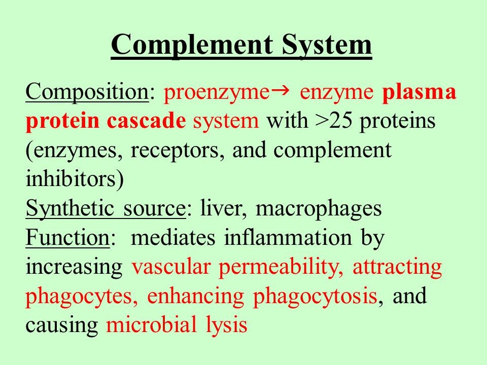 Complement System Composition: proenzyme  enzyme plasma protein cascade system with >25 proteins (enzymes, receptors, and complement inhibitors) Synthetic source: liver, macrophages Function: mediates inflammation by increasing vascular permeability, attracting phagocytes, enhancing phagocytosis, and causing microbial lysis