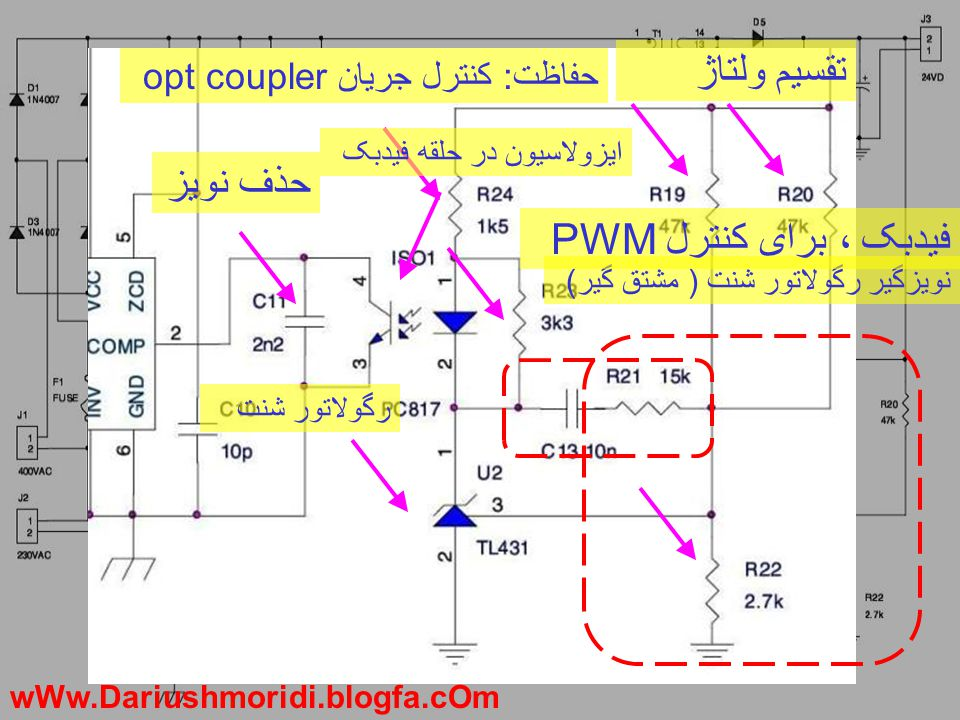 تقسیم ولتاژ نویزگیر رگولاتور شنت ( مشتق گیر) رگو تور شنت فیدبک ، برای کنترل PWM حفاظت: کنترل جریان opt coupler حذف نویز ایزو سیون در حلقه فیدبک wWw.Da