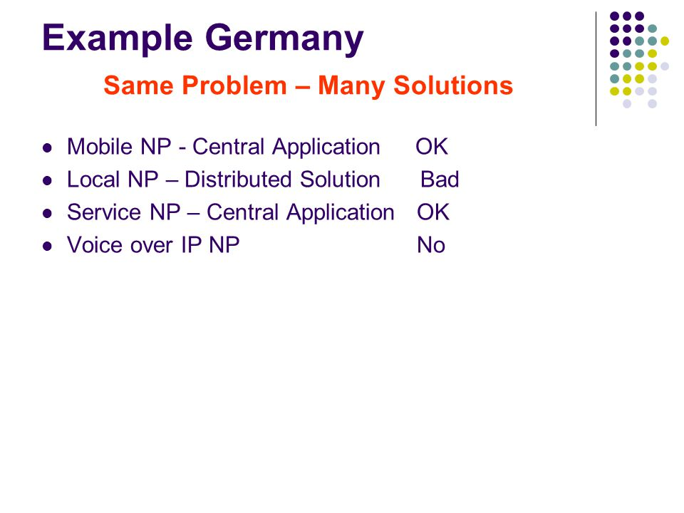Example Germany Same Problem – Many Solutions Mobile NP - Central Application OK Local NP – Distributed Solution Bad Service NP – Central Application OK Voice over IP NP No