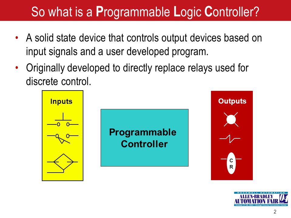 2 Programmable Controller Inputs Outputs CRCR So what is a P rogrammable L ogic C ontroller? A solid state device that controls output devices based o