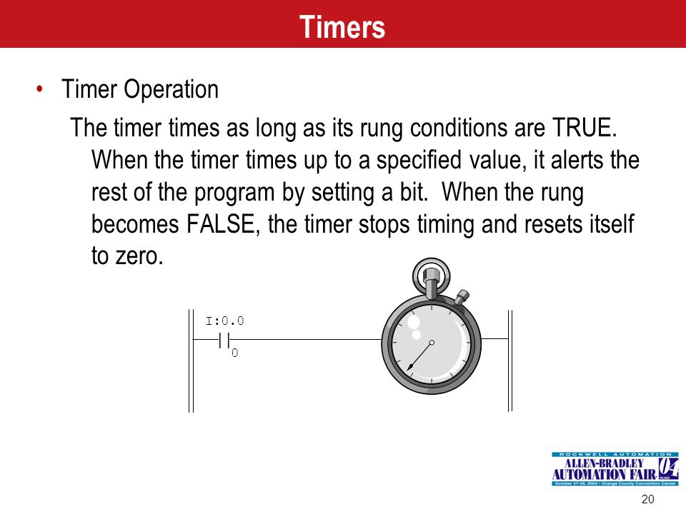 20 | I:0.0 0 Timers Timer Operation The timer times as long as its rung conditions are TRUE. When the timer times up to a specified value, it alerts t