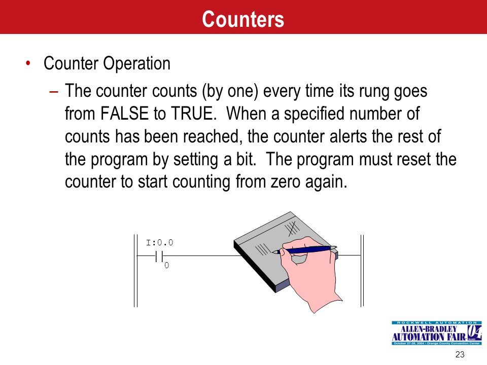 23 | I:0.0 0 Counters Counter Operation –The counter counts (by one) every time its rung goes from FALSE to TRUE. When a specified number of counts ha