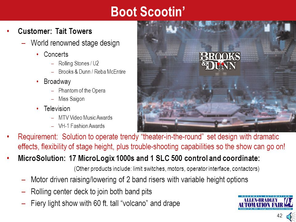 42 Customer: Tait Towers –World renowned stage design Concerts –Rolling Stones / U2 –Brooks & Dunn / Reba McEntire Broadway –Phantom of the Opera –Mis