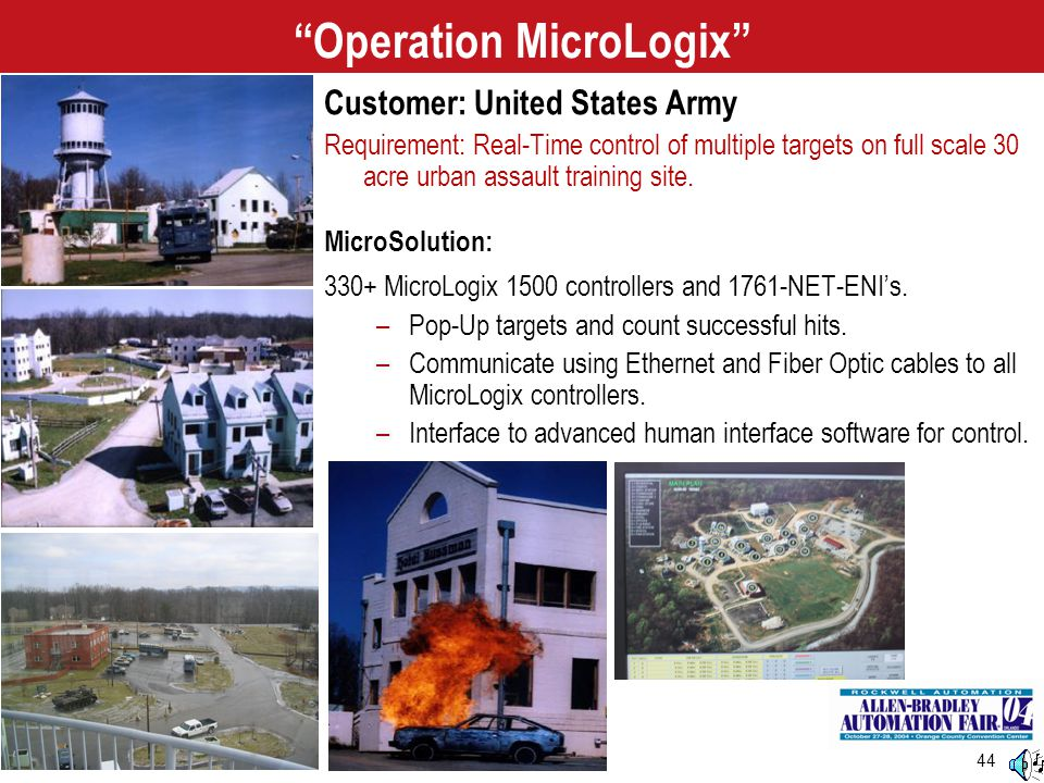 """44 """"Operation MicroLogix"""" Customer: United States Army Requirement: Real-Time control of multiple targets on full scale 30 acre urban assault training"""