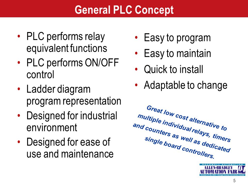 5 General PLC Concept PLC performs relay equivalent functions PLC performs ON/OFF control Ladder diagram program representation Designed for industria