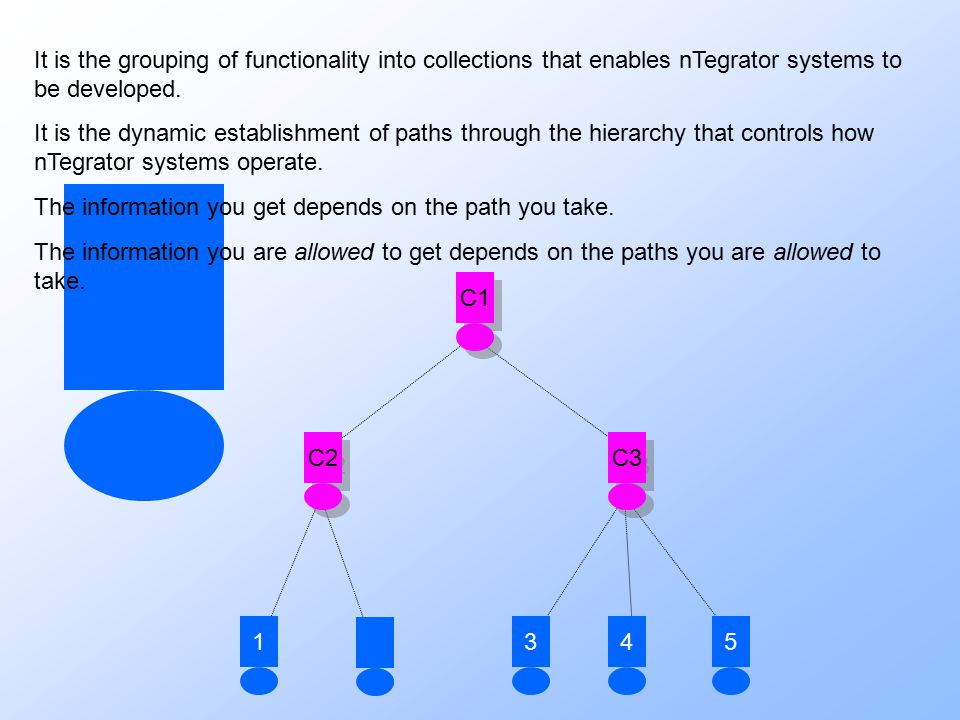 21435 C3 C1 C2 It is the grouping of functionality into collections that enables nTegrator systems to be developed. It is the dynamic establishment of