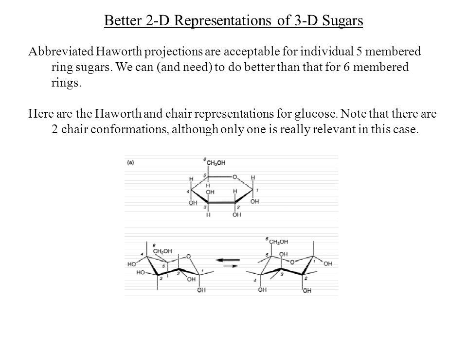 Better 2-D Representations of 3-D Sugars Abbreviated Haworth projections are acceptable for individual 5 membered ring sugars. We can (and need) to do