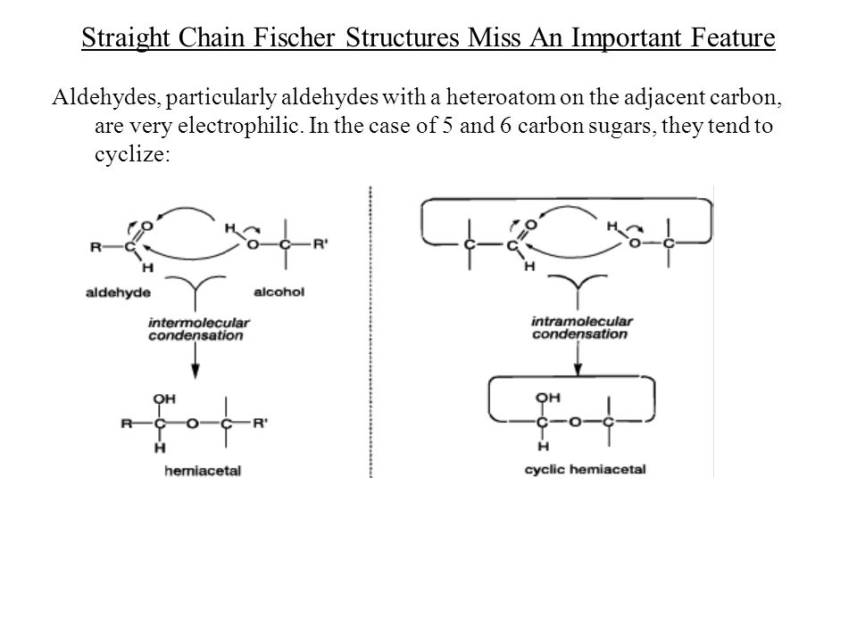 Straight Chain Fischer Structures Miss An Important Feature Aldehydes, particularly aldehydes with a heteroatom on the adjacent carbon, are very elect