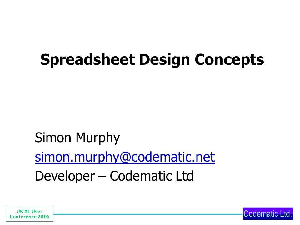 UK XL User Conference 2006 Worksheet modularisation