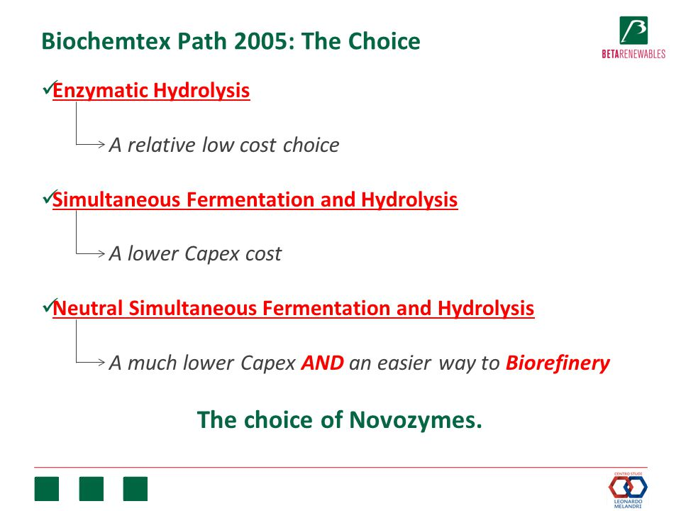 Biochemtex Path 2005: The Choice Enzymatic Hydrolysis A relative low cost choice Simultaneous Fermentation and Hydrolysis A lower Capex cost Neutral Simultaneous Fermentation and Hydrolysis A much lower Capex AND an easier way to Biorefinery The choice of Novozymes.