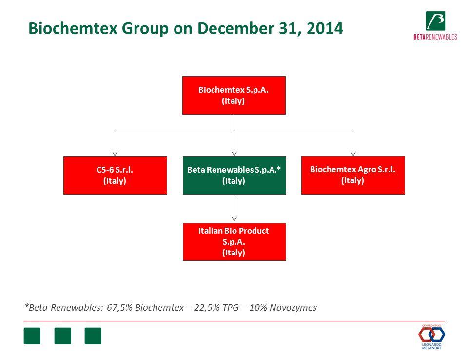 Biochemtex Group on December 31, 2014 Biochemtex S.p.A. (Italy) Biochemtex Agro S.r.l. (Italy) C5-6 S.r.l. (Italy) Beta Renewables S.p.A.* (Italy) Ita