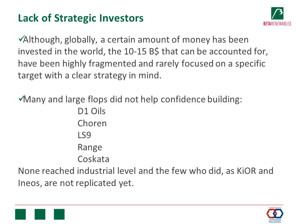 Lack of Strategic Investors Although, globally, a certain amount of money has been invested in the world, the 10-15 B$ that can be accounted for, have