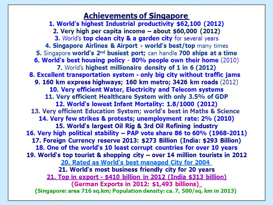 Two Super Models of FAST Development Singapore is world's most successful City for more than 25 years.