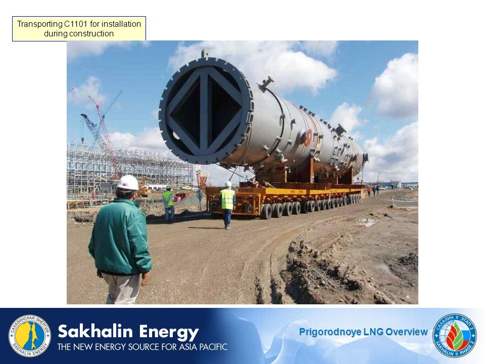 Prigorodnoye LNG Overview Transporting C1101 for installation during construction
