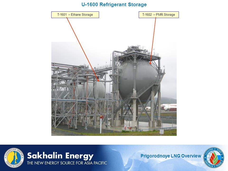 Prigorodnoye LNG Overview U-1600 Refrigerant Storage T-1602 – PMR StorageT-1601 – Ethane Storage