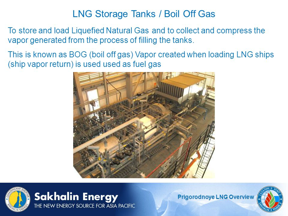 Prigorodnoye LNG Overview To store and load Liquefied Natural Gasand to collect and compress the vapor generated from the process of filling the tanks.