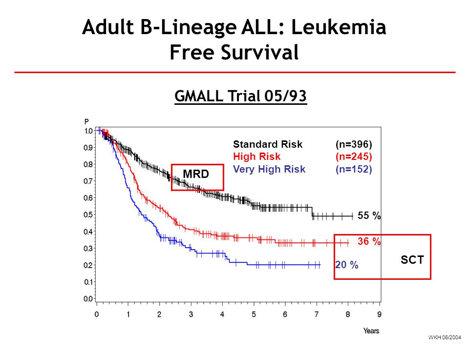 Adult B-Lineage ALL: Leukemia Free Survival Standard Risk(n=396) High Risk(n=245) Very High Risk(n=152) 55 % 36 % 20 % GMALL Trial 05/93 WKH 06/2004 S