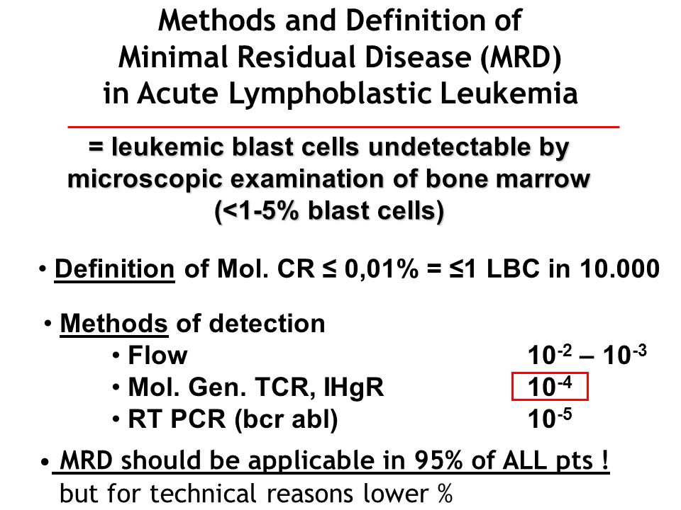 Methods and Definition of Minimal Residual Disease (MRD) in Acute Lymphoblastic Leukemia = leukemic blast cells undetectable by microscopic examinatio