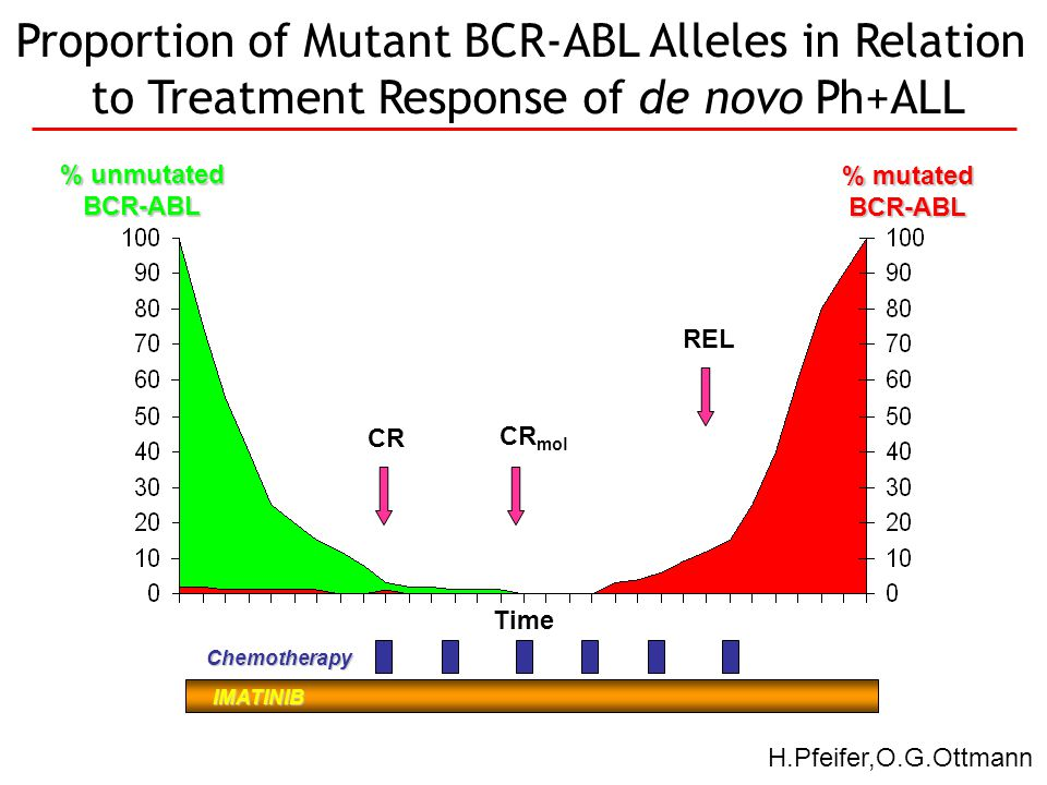 CR CR mol REL Time IMATINIB % unmutated BCR-ABL % mutated BCR-ABL Chemotherapy Proportion of Mutant BCR-ABL Alleles in Relation to Treatment Response