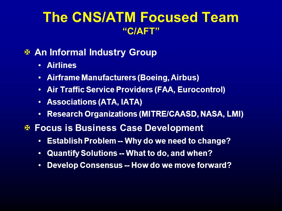 CNS/ATM Focused Team Conclusions XData link is a strategic, long-term investment.