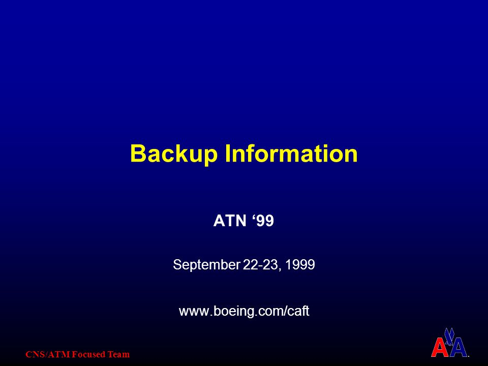 CNS/ATM Focused Team Backup Information ATN '99 September 22-23, 1999 www.boeing.com/caft