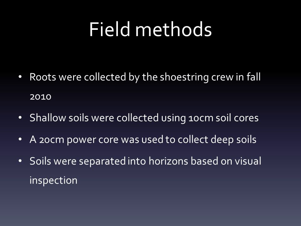 Field methods Roots were collected by the shoestring crew in fall 2010 Shallow soils were collected using 10cm soil cores A 20cm power core was used t