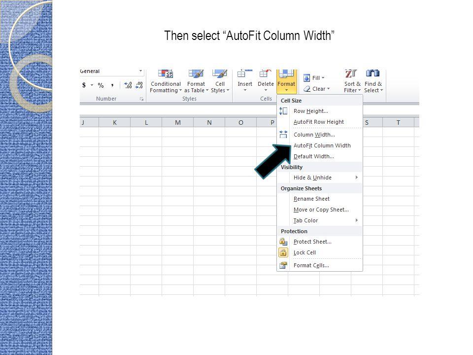 Then select AutoFit Column Width