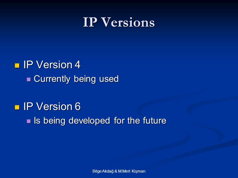 Bilge Akdağ & M.Mert Kişman IP Versions IP Version 4 IP Version 4 Currently being used Currently being used IP Version 6 IP Version 6 Is being developed for the future Is being developed for the future