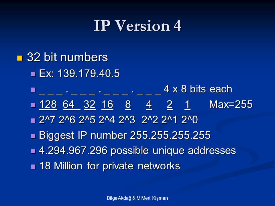 Bilge Akdağ & M.Mert Kişman IP Version 4 32 bit numbers 32 bit numbers Ex: 139.179.40.5 Ex: 139.179.40.5 _ _ _.