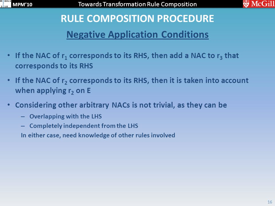 Towards Transformation Rule Composition MPM'10 RULE COMPOSITION PROCEDURE Negative Application Conditions 16 If the NAC of r 1 corresponds to its RHS,