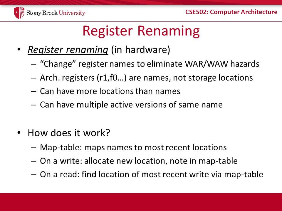 """CSE502: Computer Architecture Register Renaming Register renaming (in hardware) – """"Change"""" register names to eliminate WAR/WAW hazards – Arch. registe"""