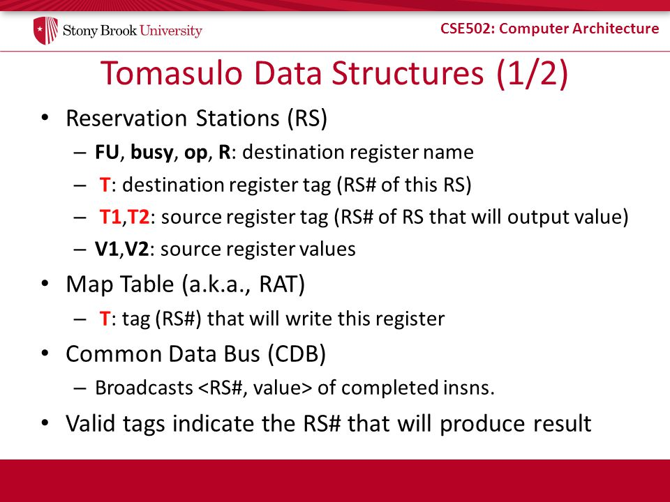 CSE502: Computer Architecture Tomasulo Data Structures (1/2) Reservation Stations (RS) – FU, busy, op, R: destination register name – T: destination r