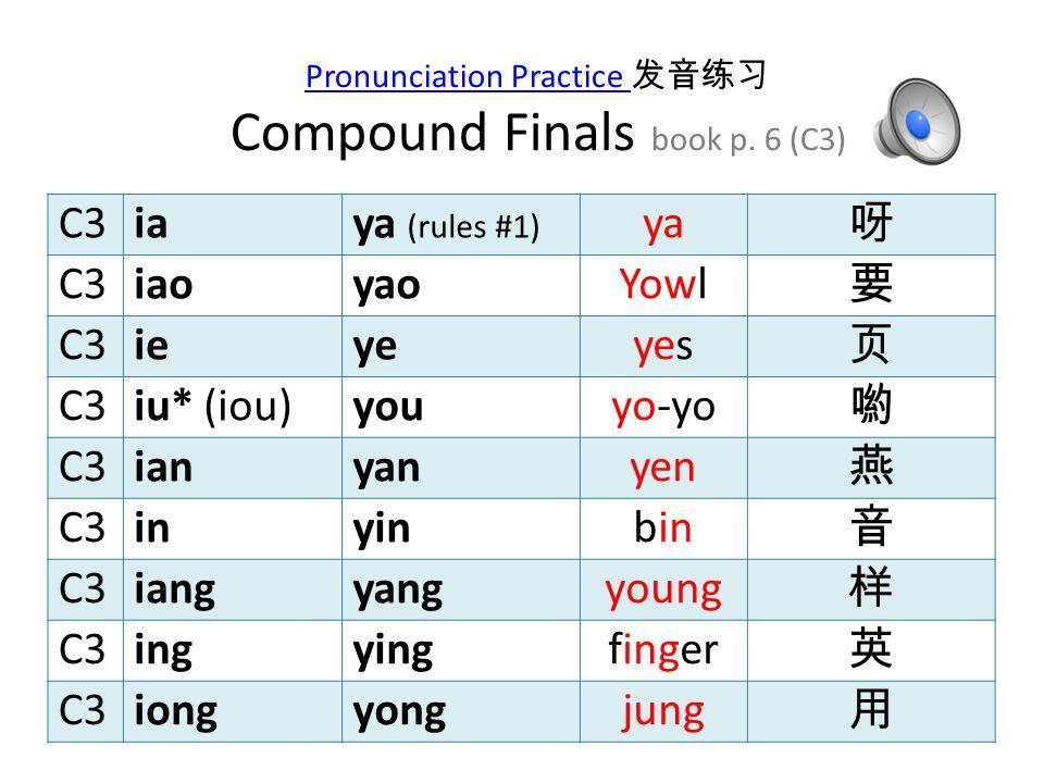 C2 an man 安 C2 en open 恩 C2 ang hung 昂 C2 eng fern 冷 C2 ong John 永 Pronunciation Practice Pronunciation Practice 发音练习 Compound Finals book p.