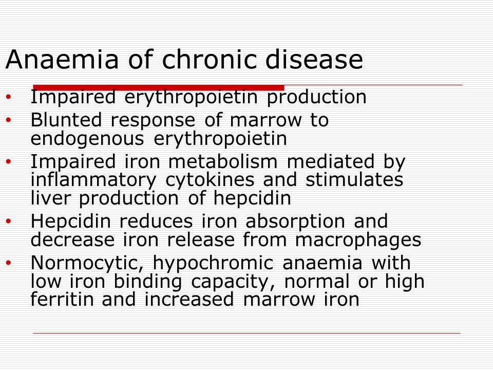 Anaemia of chronic disease Impaired erythropoietin production Blunted response of marrow to endogenous erythropoietin Impaired iron metabolism mediate